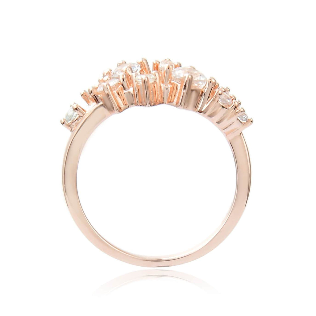 Enticing White Sapphire Cluster Ring in Rose Gold Plated Sterling Silver