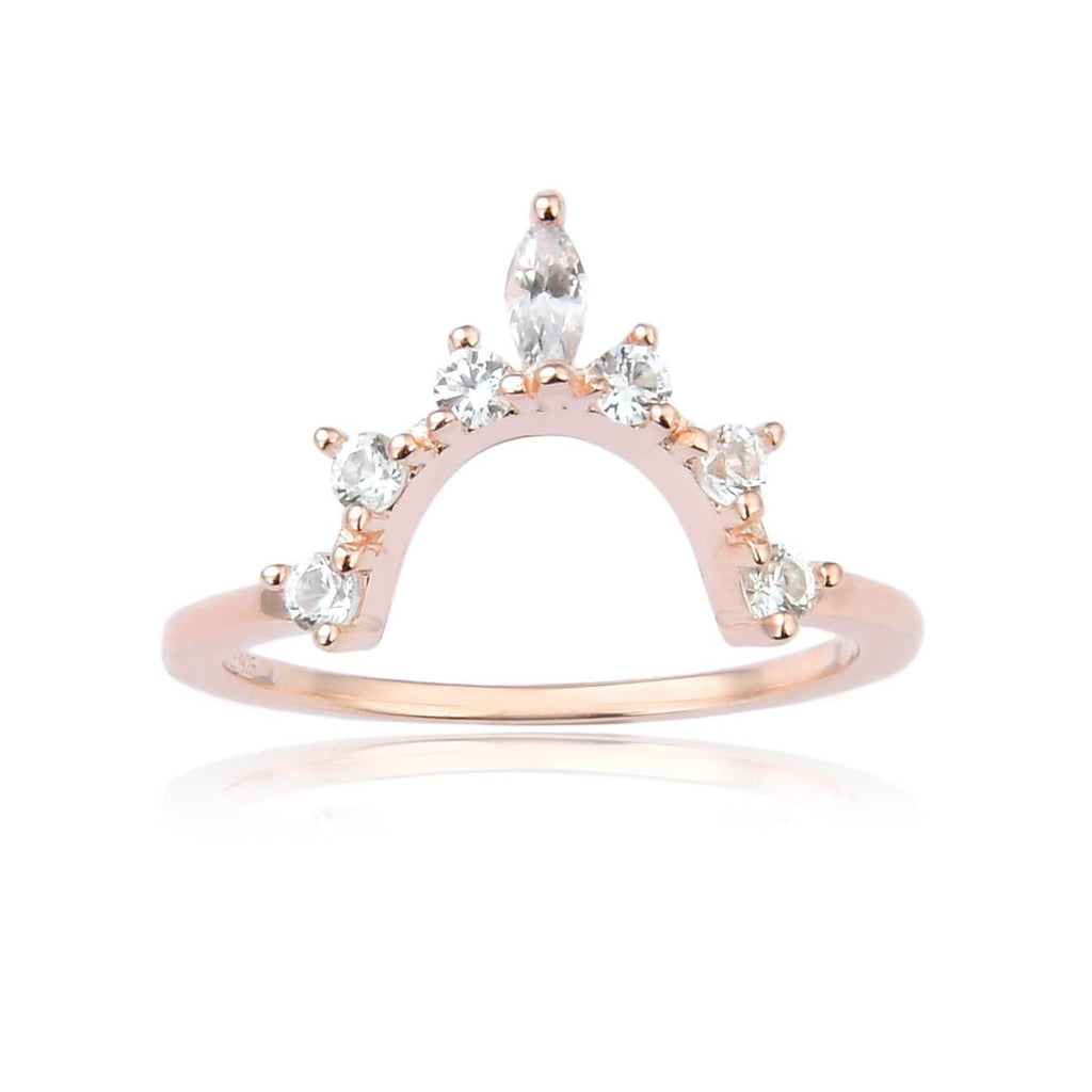Crown Marquise cut White Sapphire Ring in Yellow Gold Plated Sterling Silver