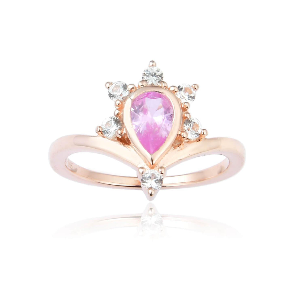 Regal Pear Shaped Pink Sapphire Ring in Yellow Gold Plated Sterling Silver