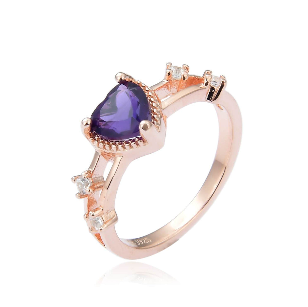 Dainty Amethyst Heart Shaped Rose Gold Plated Sterling Silver Ring