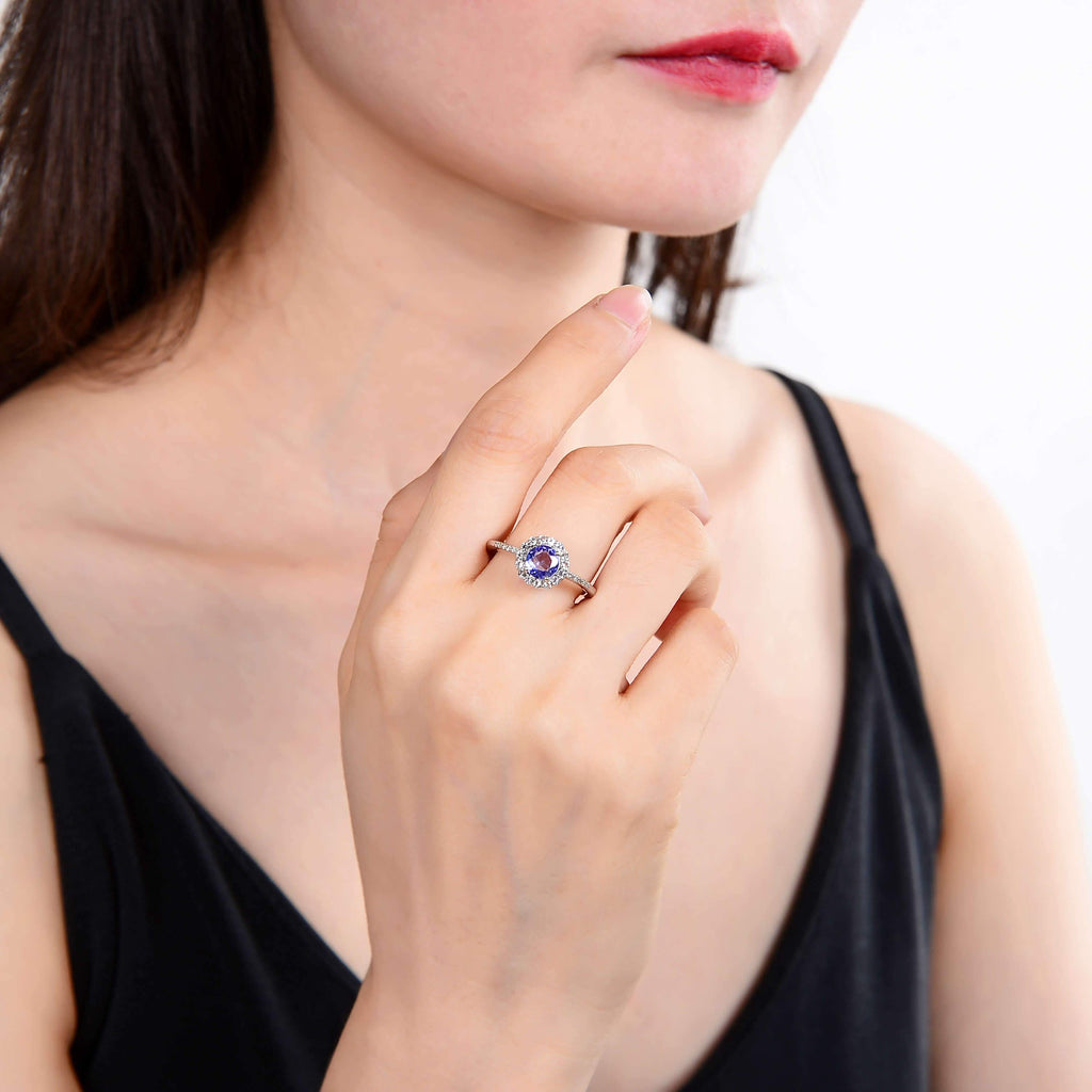 Classic Sterling Sliver Round Tanzanite and White Topaz Ring. $ 100 – 150, 6, 7, Round, Tanzanite, Blue Violet, White, White Topaz, 925 Sterling Silver, Halo