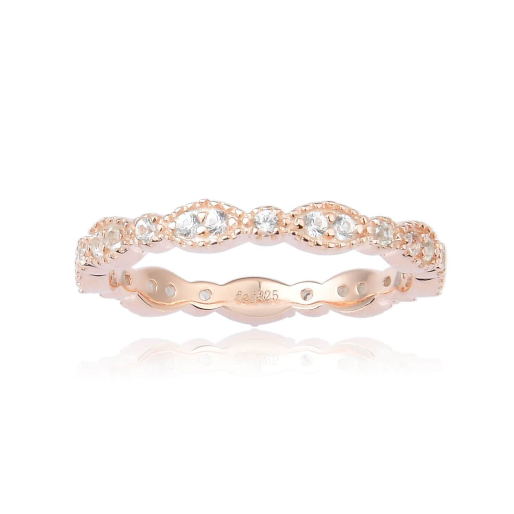 Dainty White Sapphire Round cut Rose Gold Plated Sterling Silver Eternity Ring