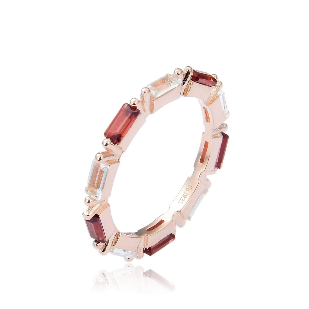 Garnet and White Topaz Baguette Style Ring