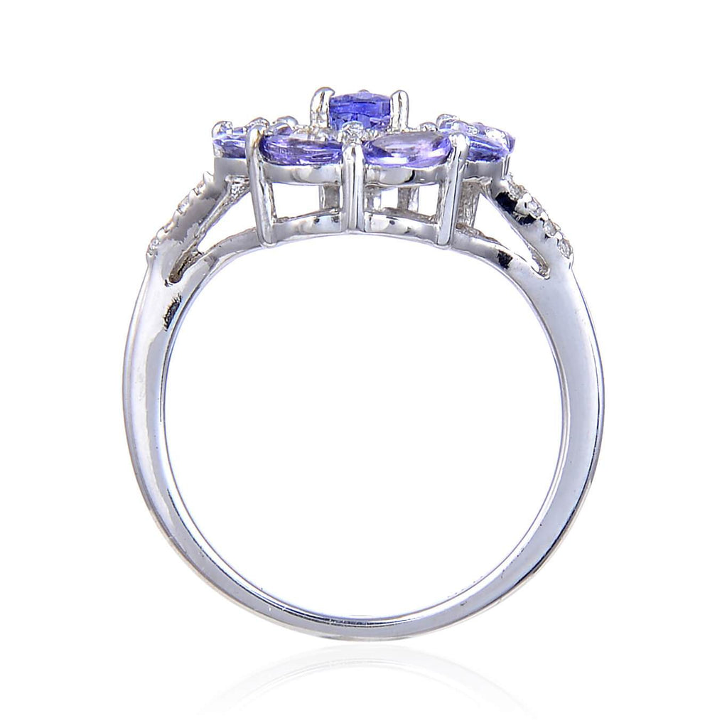 Enchanting Tanzanite Pear-Shaped Ring. $ 100 -150, 6, 7, Round, Tanzanite, Blue Violet, White, White Topaz, 925 Sterling Silver, Statement
