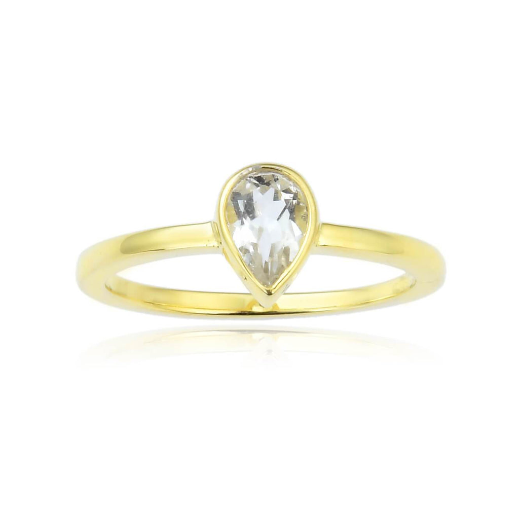 White Sapphire Pear Shaped White Topaz Solitaire Ring