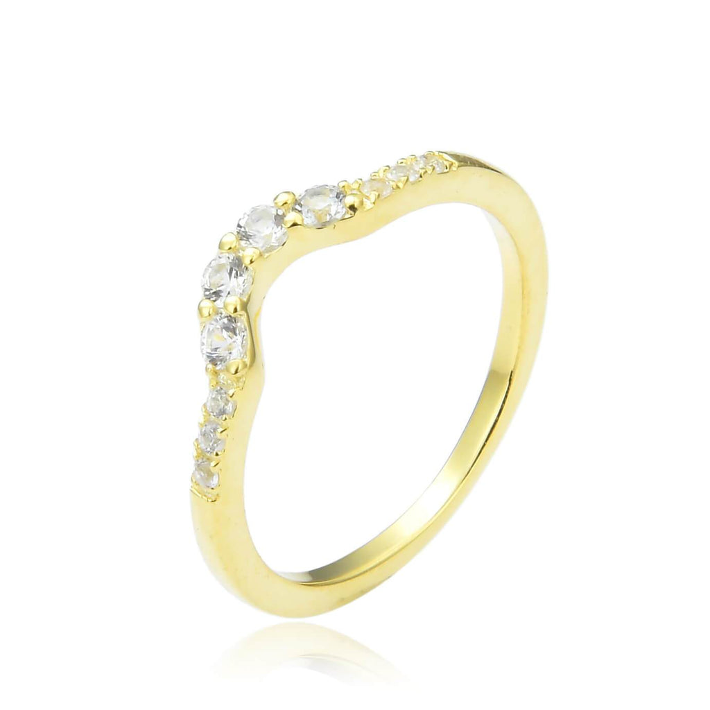 White Sapphire Yellow Gold Plated Crown Ring