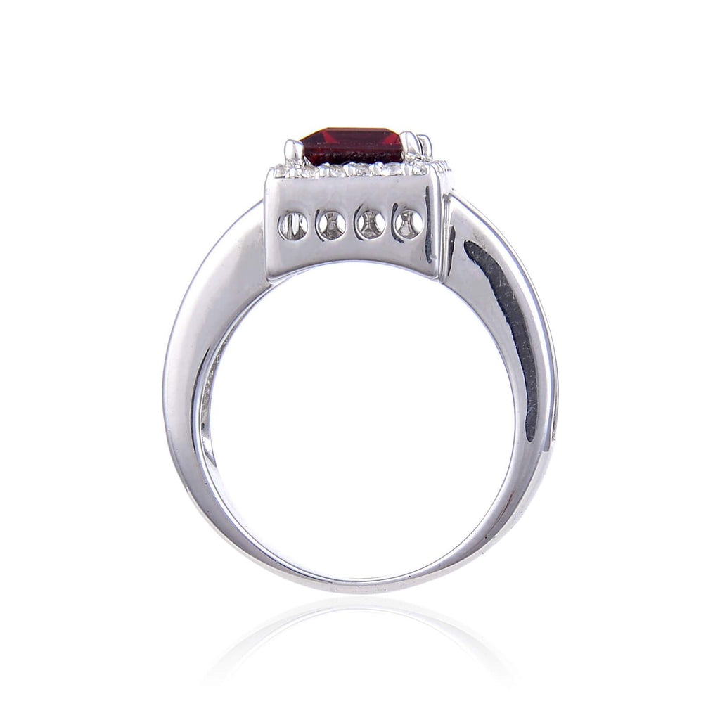 Classic Sterling Silver Garnet and White Topaz Ring. $ 50 - 100, 6,  Square, Garnet, Pyrope/Dark Red, White, White Topaz, 925 Sterling Silver, Halo