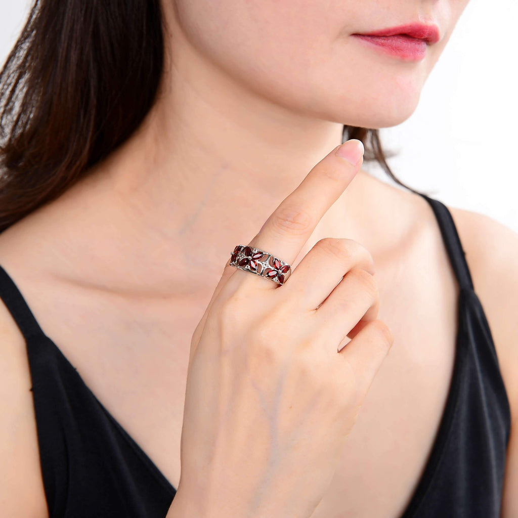 Marquise Garnet and White topaz Fashion Ring. $ 50 & Under, 6, Marquise, Garnet, Pyrope/Dark Red, White, White Topaz, 925 Sterling Silver, Fashion
