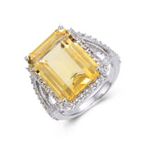 Statement Octagon Citrine Ring $ 150 – 200, $ 200 – 300, 8, 9, Emerald Cut/Octagone, Citrine, Golden Yellow, White, White Topaz, 925 Sterling Silver, Statement