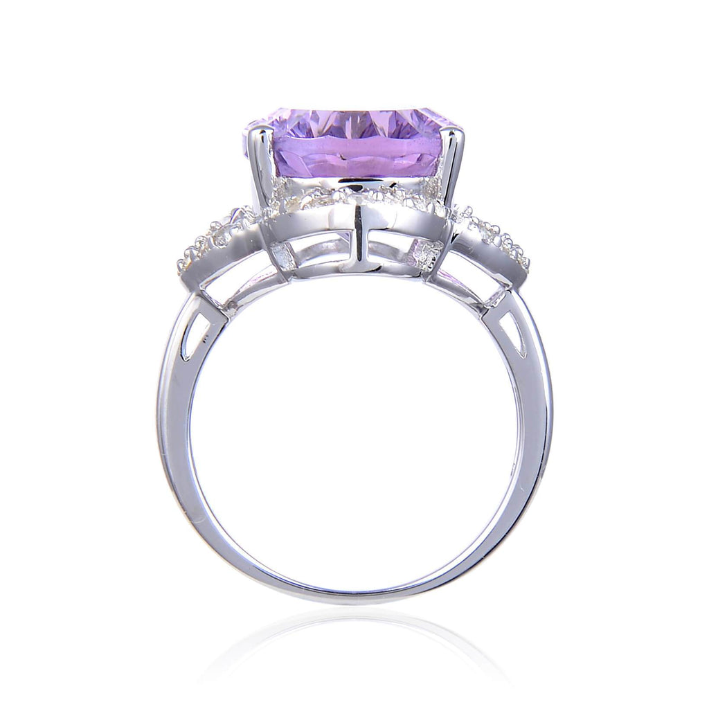 Statement Sterling Silver Concave Oval Pink Amethyst White Topaz Ring. $ 50 – 100, $ 100 – 150, 8, Purple, Oval Shape, Amethyst, Purple, White Topaz, 925 Sterling Silver, Statement RIng