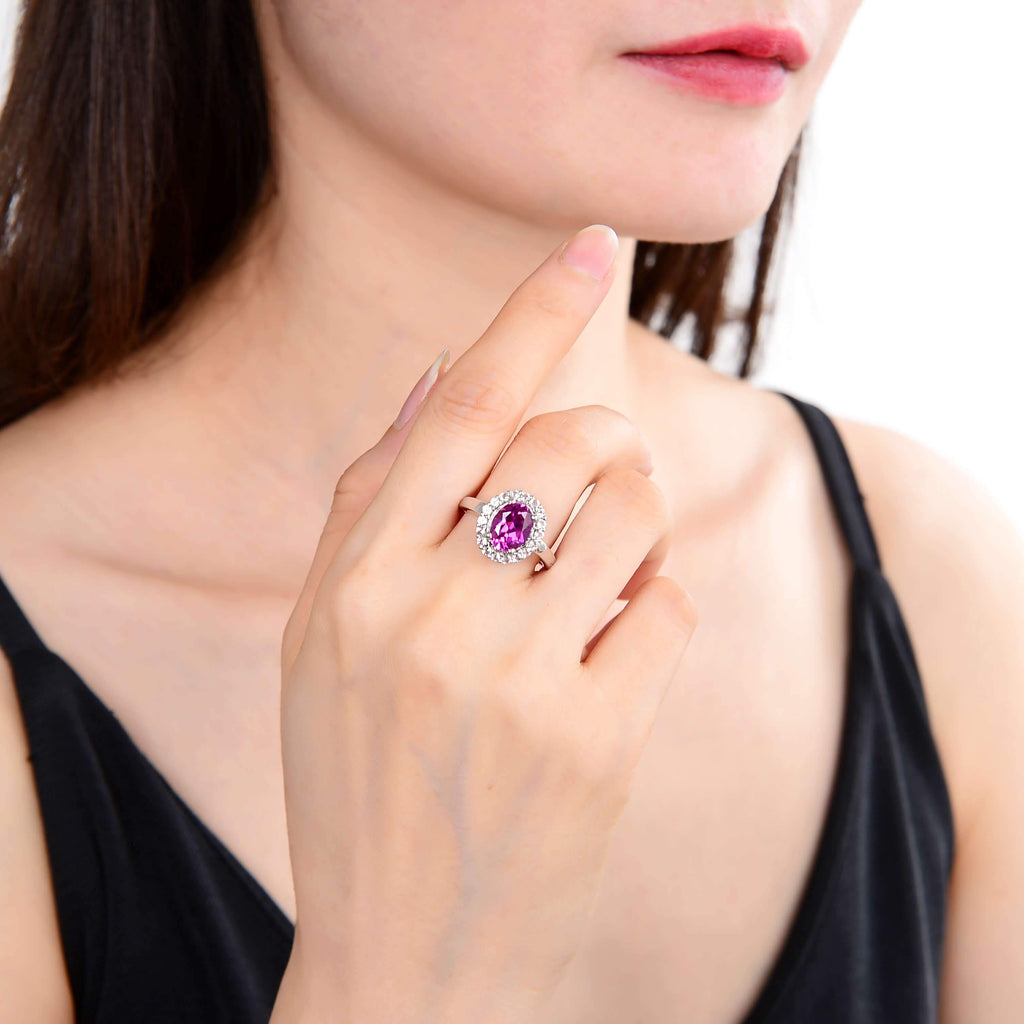 Classic Oval Created Purple Sapphire Ring. $ 50 - 100, Lab Created Purple Sapphire, Purple, Oval, White, White Topaz, 925 Sterling Silver, 6, 7, 8, Halo