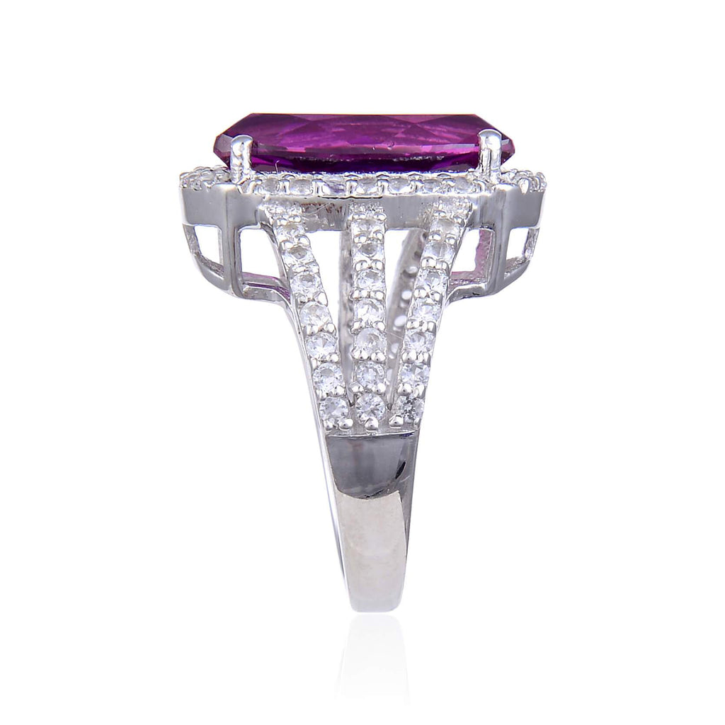 Signature Cushion Created Purple Sapphire Ring. $ 100 Ð 150, Lab Created Purple Sapphire, Purple, White, White Topaz, 925 Sterling Silver, 6, 7, 8, Fashion