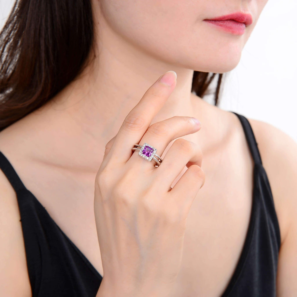 Classic Created Purple Sapphire Halo Ring. $ 50 - 100, Lab Created Purple Sapphire, Purple, Square, White, White Topaz, 925 Sterling Silver, 6, 7, 8, Halo