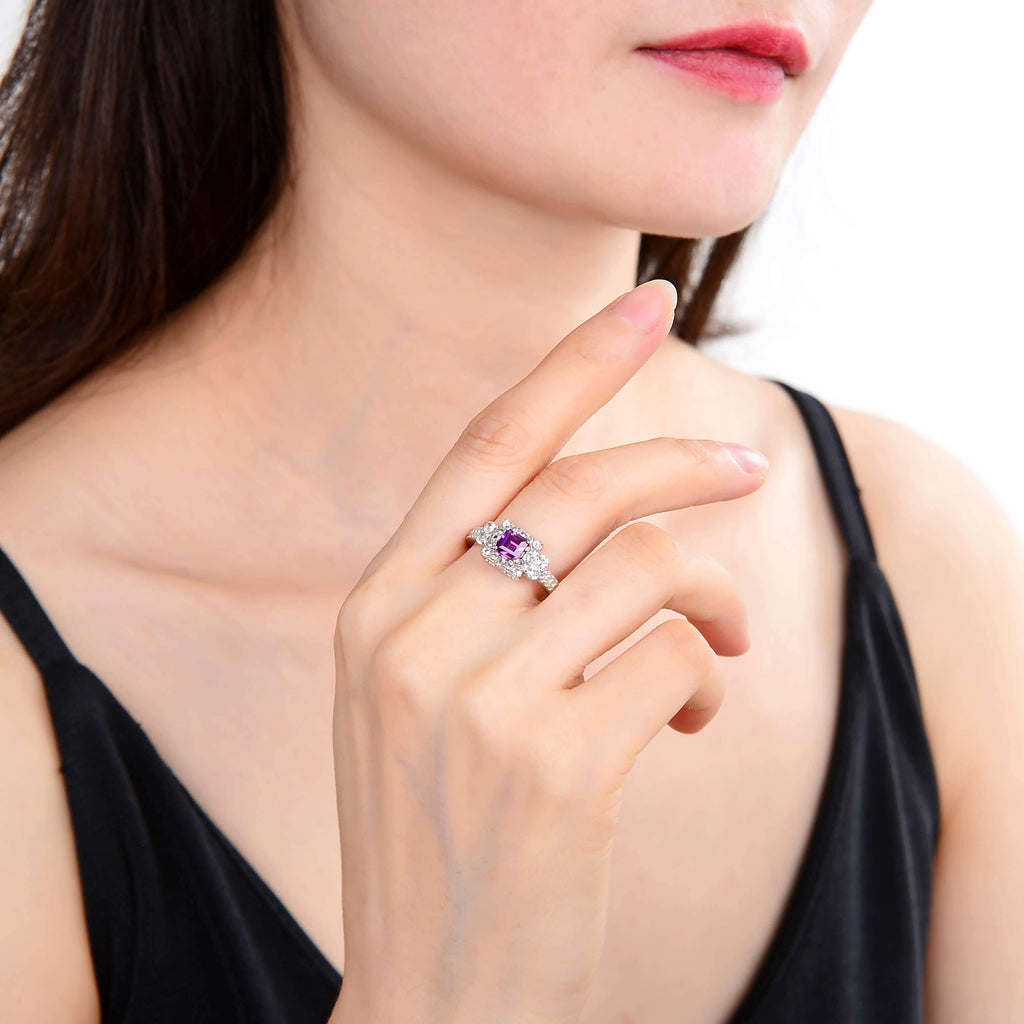 Classic Created Purple Sapphire Square Ring. $ 50 & Under, Lab Created Purple Sapphire, Purple, Square, White, White Topaz, 925 Sterling Silver, 6, 7, 8, Halo