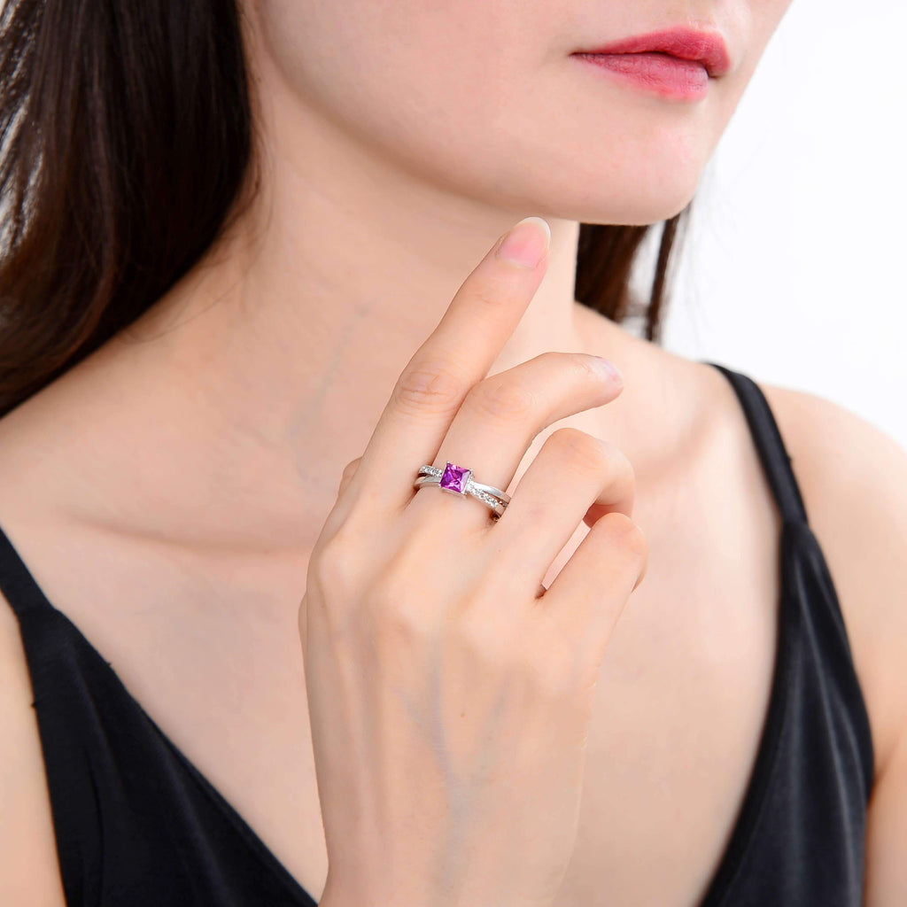 Signature Square Create Purple Sapphire Ring. $ 50 & Under, Lab Created Purple Sapphire, Purple, Square, White, White Topaz, 925 Sterling Silver, 6, 7, 8, Fashion