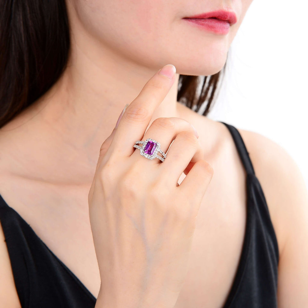 Classic Octagon Created Purple Sapphire Ring. $ 50 - 100, Lab Created Purple Sapphire, Purple, Octagon, White, White Topaz, 925 Sterling Silver, 6, 7, 8, Halo