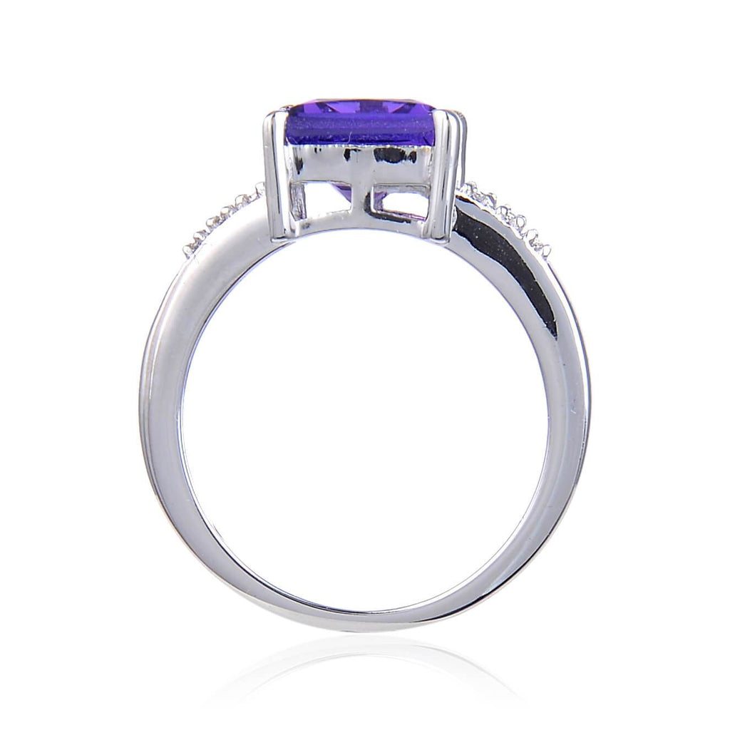 Signature Square Created Purple Sapphire. $ 50 & Under, Lab Created Purple Sapphire, Purple, Square, White, White Topaz, 925 Sterling Silver, 6, 7, 8, Solitare