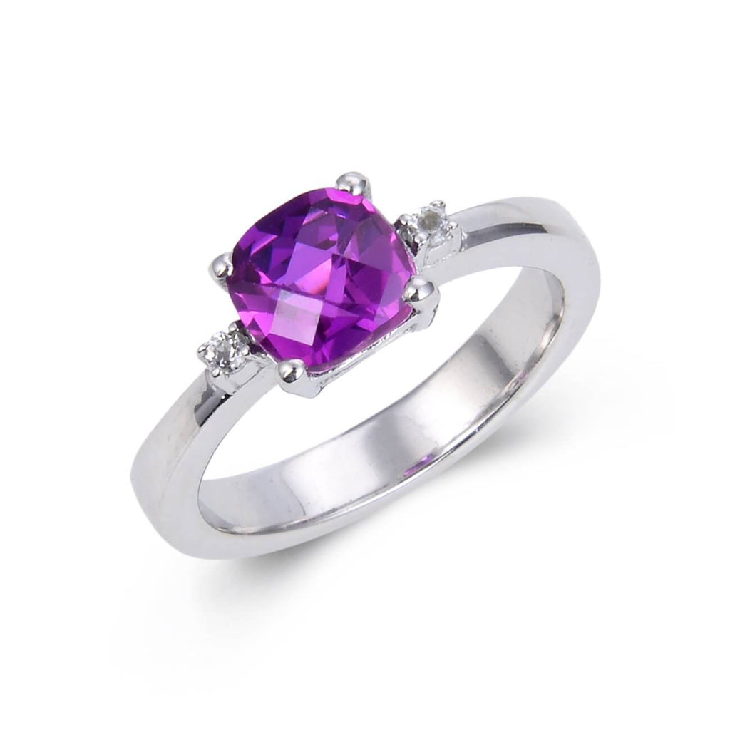 Classic Cushion Purple Sapphire Ring. $ 50 & Under, Lab Created Purple Sapphire, Purple, Cushion, White, White Topaz, 925 Sterling Silver, 6, 7, 8, Solitare