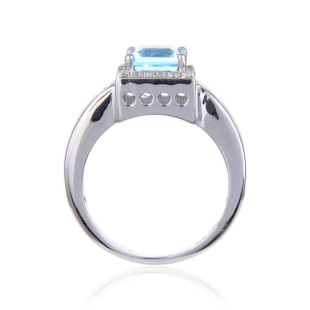 Classic Sterling Silver Blue Topaz Ring. $ 50 – 100, 6, 7, Blue, Square, Blue Topaz, White Topaz, 925 Sterling Silver, Halo