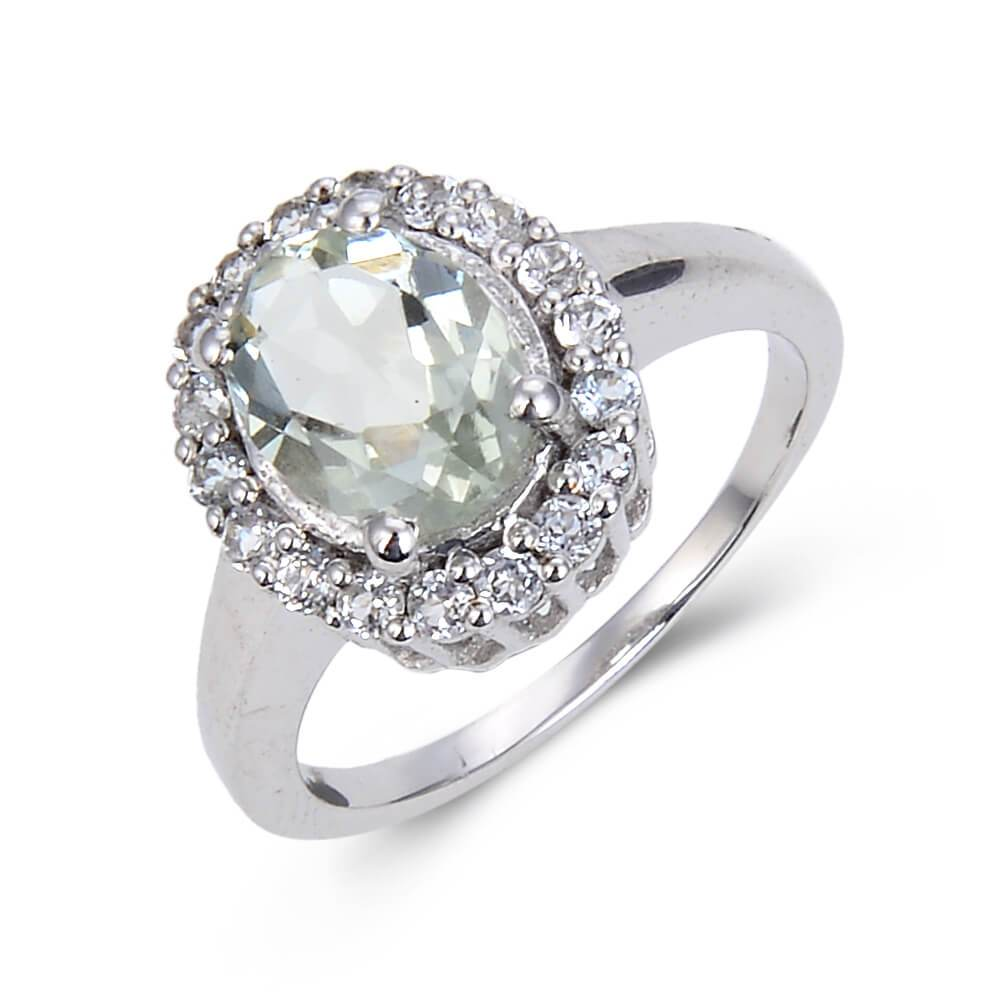 Classic Sterling Silver Oval Green Amethyst White Topaz Ring. $ 50 & Under, 7, Purple, Oval Shape, Green Amethyst, Purple, White Topaz, 925 Sterling Silver, Halo Ring.