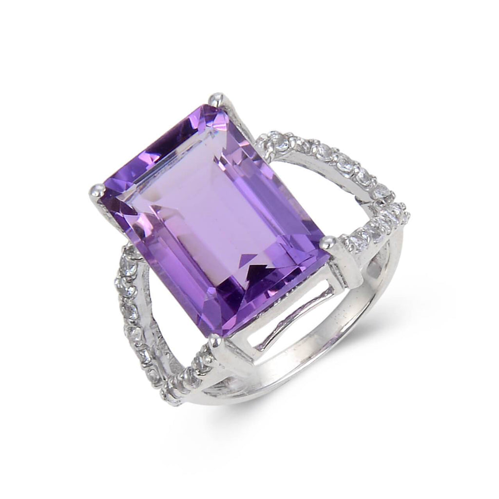 Statement Amethyst Emerald Cut White Topaz Ring. $ 100 – 150, 5, 7, Purple, Emerald Cut, Amethyst, Purple, White Topaz, 925 Sterling Silver, Staement RIng.