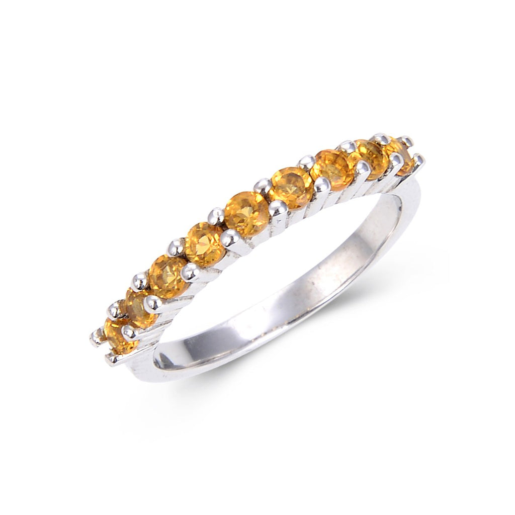 Sterling Silver Round Citrine Ring $ 50 & Under, 7, Oval, Citrine, Golden Yellow, White, White Topaz, 925 Sterling Silver, Eternity Band