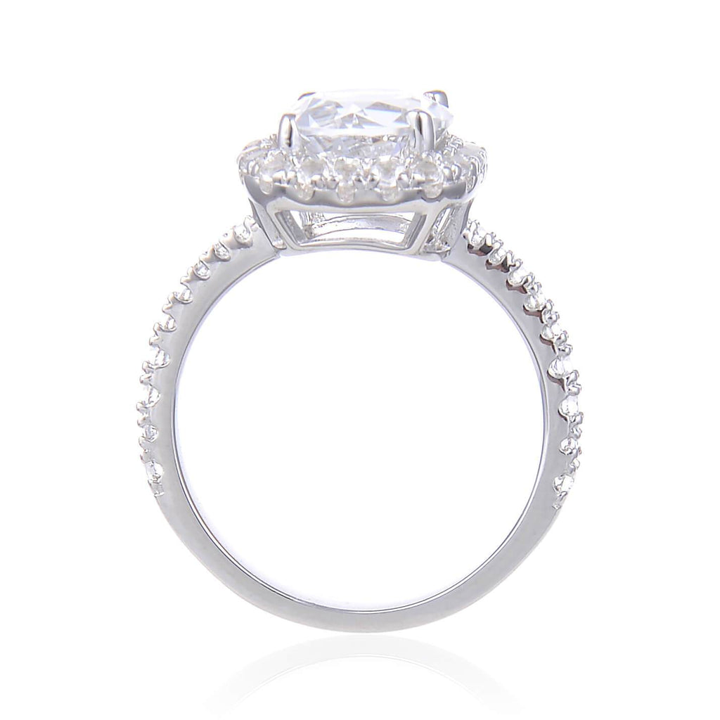 Statement White Topaz Round Ring, $ 50 & Under, White Topaz, White, Round, 925 Sterling Silver, 6, 7, 8, Halo