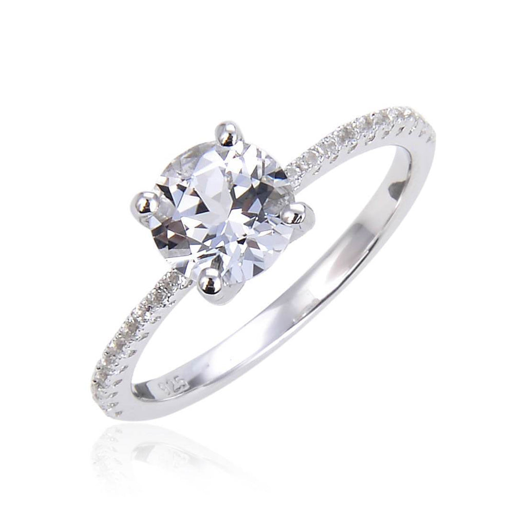 Classic Round White Topaz Solitare Ring, $ 50 & Under, White Topaz, White, Round, 925 Sterling Silver, 6, 7, 8, Solitare