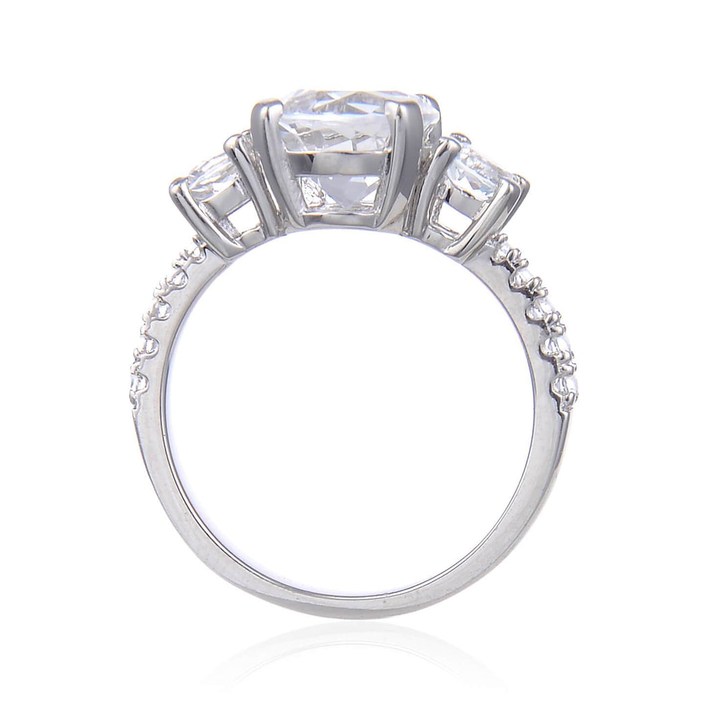 Classic Round White Topaz Engagement Ring, $ 50 & Under, White Topaz, White, Round, 925 Sterling Silver, 6, 7, 8, Three Stone