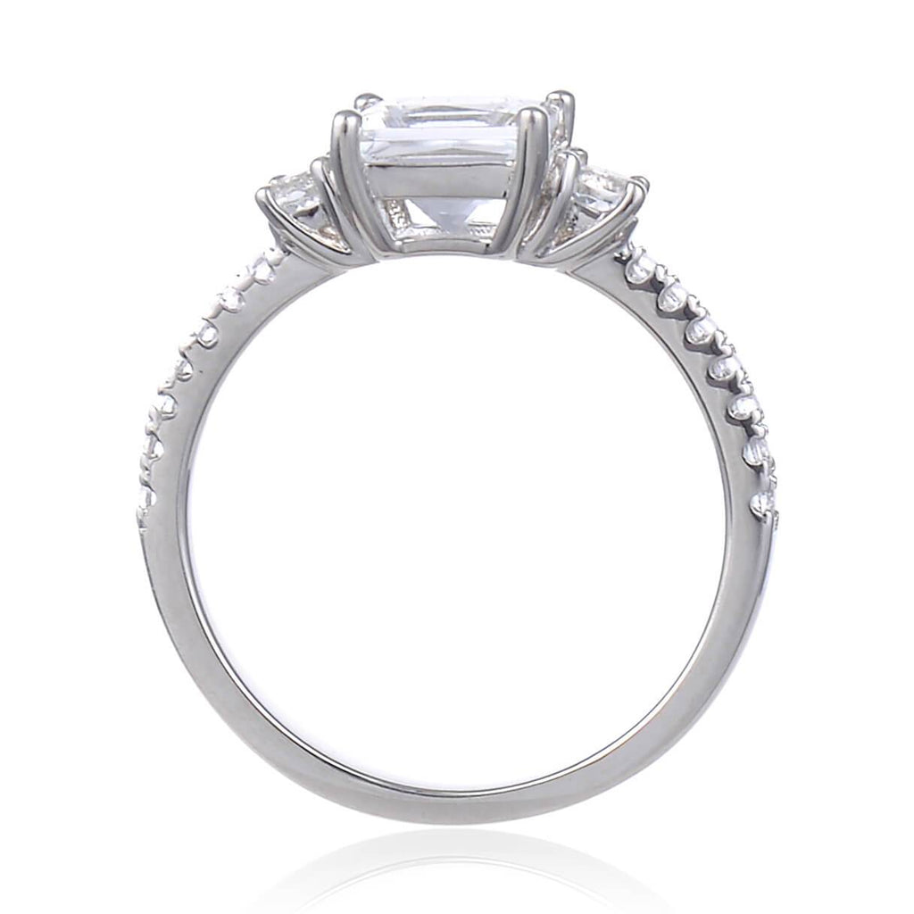 Classic Square White Topaz Engagement Ring, $ 50 & Under, White Topaz, White, Square, 925 Sterling Silver, 6, 7, 8, Three Stone