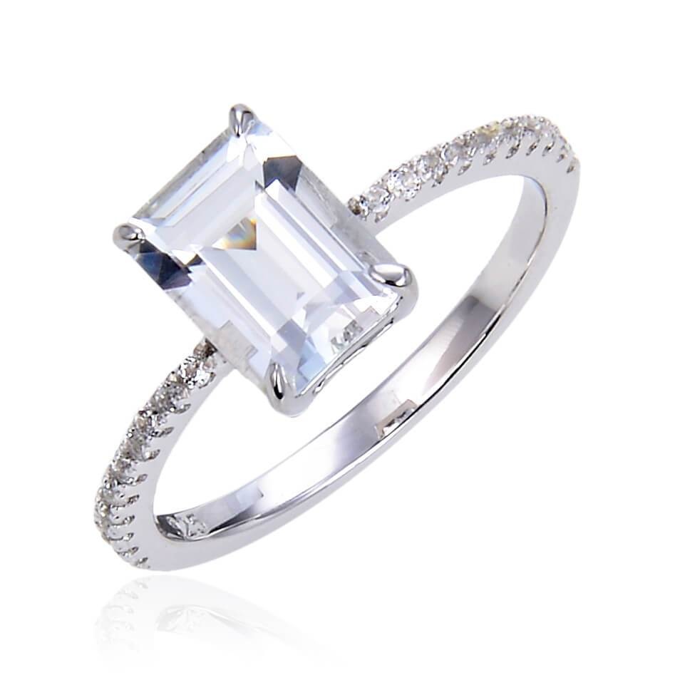 Classic Octagon White Topaz Ring, $ 50 & Under, White Topaz, White, Octagon, 925 Sterling Silver, 6, 7, 8, Solitare