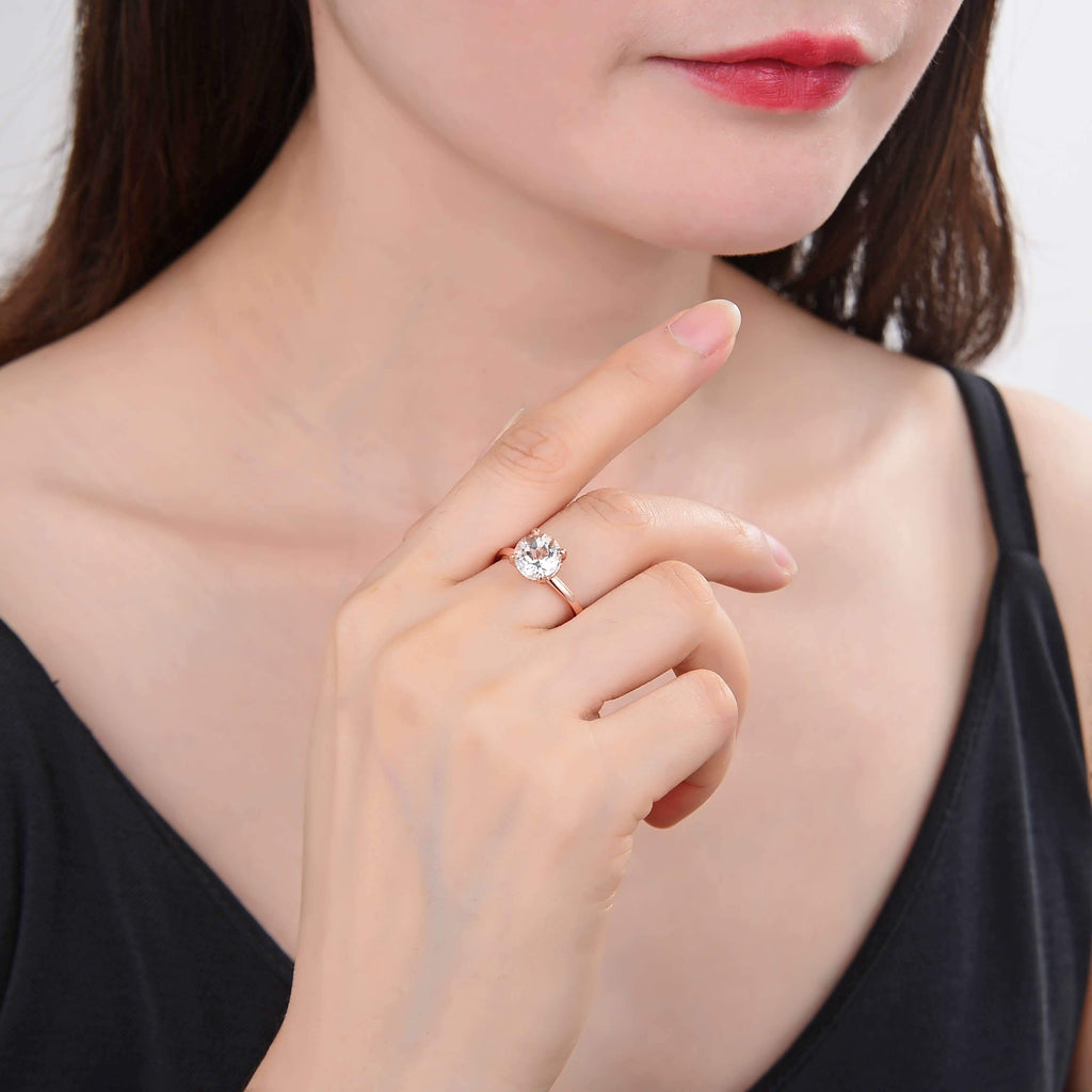 Classic Solitaire Round Rose Gold White Topaz Ring, $ 50 & Under, White Topaz, White, Round, 925 Sterling Silver - Gold Plated Rose, 6, 7, 8, Solitaire