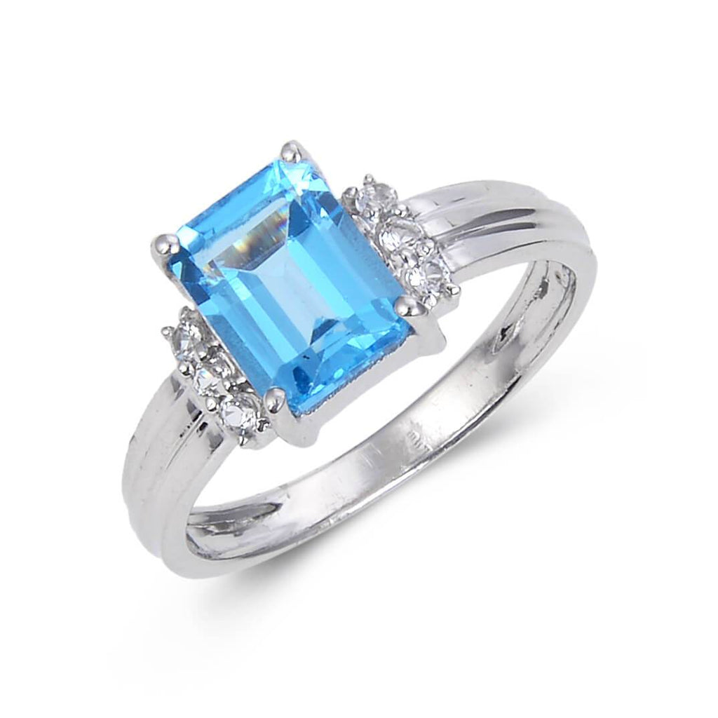 Sterling Silver Emerald Cut Blue Topaz Ring Accented with White Topaz. $ 50 & Under, 6, 7, 8, Blue, Emerald Cut, Blue Topaz, White Topaz, 925 Sterling Silver, Fashion
