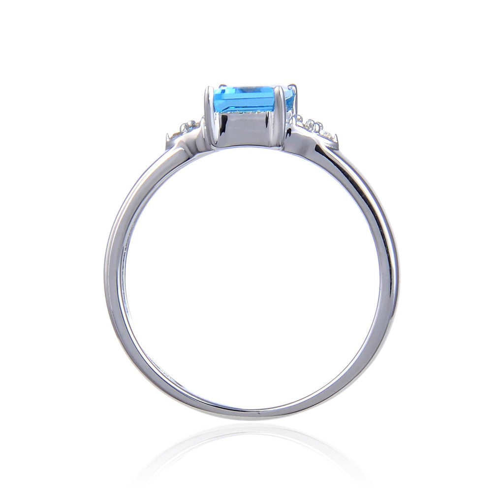 Sterling Silver Emerald Cut Blue Topaz Ring with White Topaz. $ 50 & Under, 6, 7, 8, Blue, Emerald Cut, Blue Topaz,White Topaz, 925 Sterling Silver, Fashion
