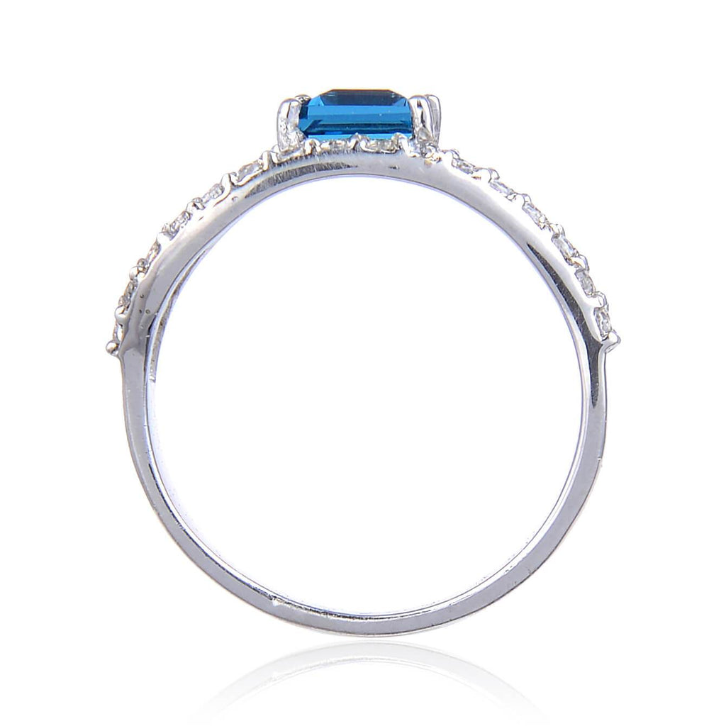 Sterling Silver Square Blue Topaz Ring Accented with White Topaz. $ 50 & Under, 6, 7, 8, Blue, Square, Blue Topaz, White Topaz, 925 Sterling Silver, Fashion