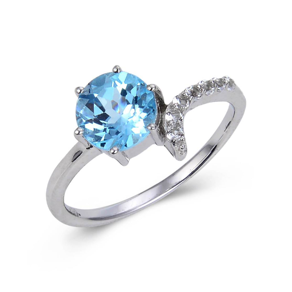 Sterling Silver Round Blue Topaz Ring Accented with White Topaz. $ 50 & Under, 6, 7, 8, Blue, Round, Blue Topaz, White Topaz, 925 Sterling Silver, Solitair