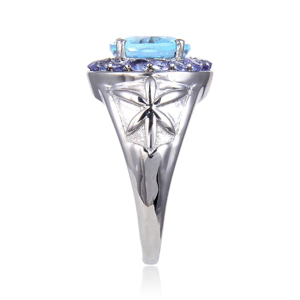 Sterling Silver Oval Blue Topaz Tanzanite Ring. $ 100 – 150, 6, 7, 8, Blue, Oval, Blue Topaz, White Topaz, 925 Sterling Silver, Statement