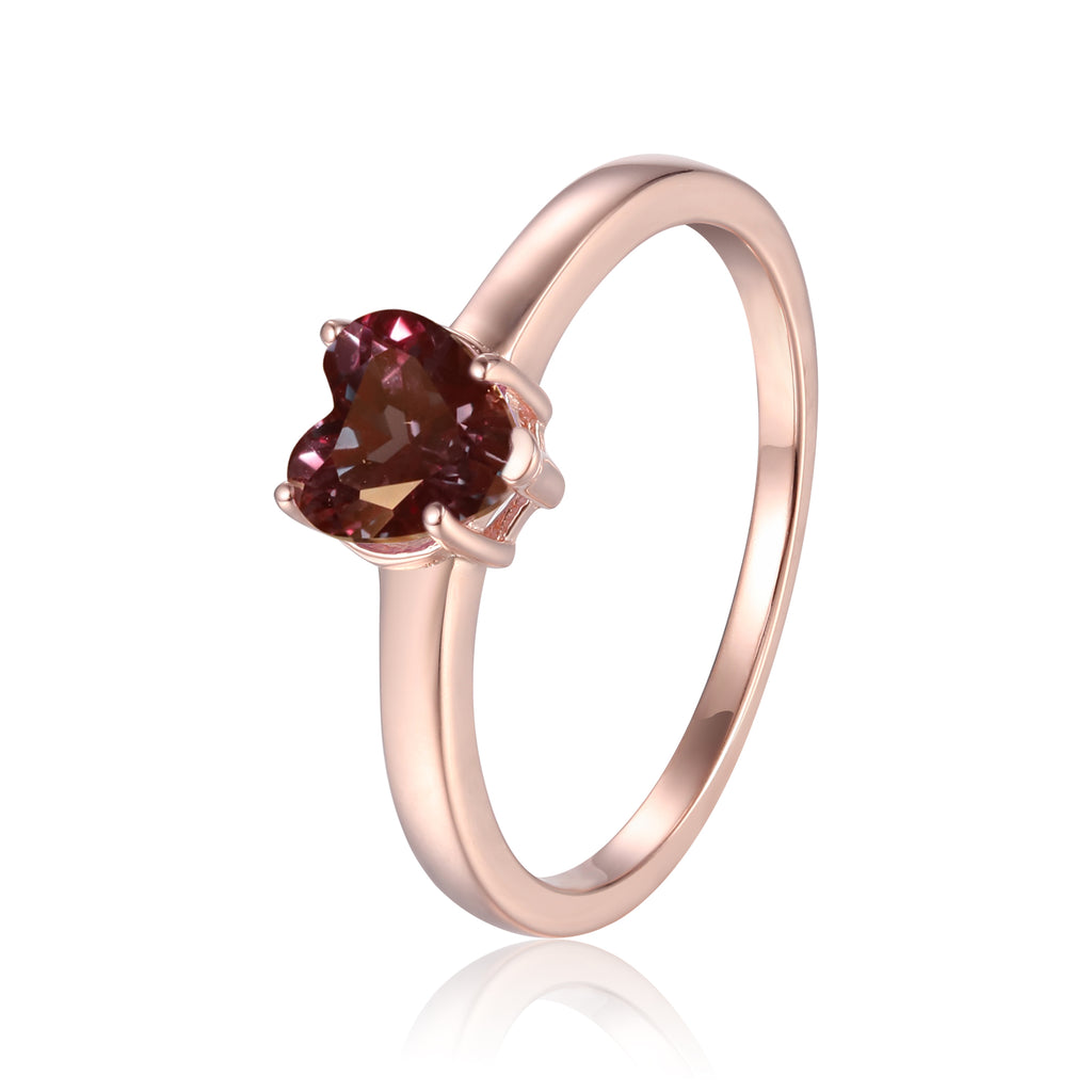 Heart Created Alexandrite Solitaire Ring in Rose Gold Plated Sterling Silver