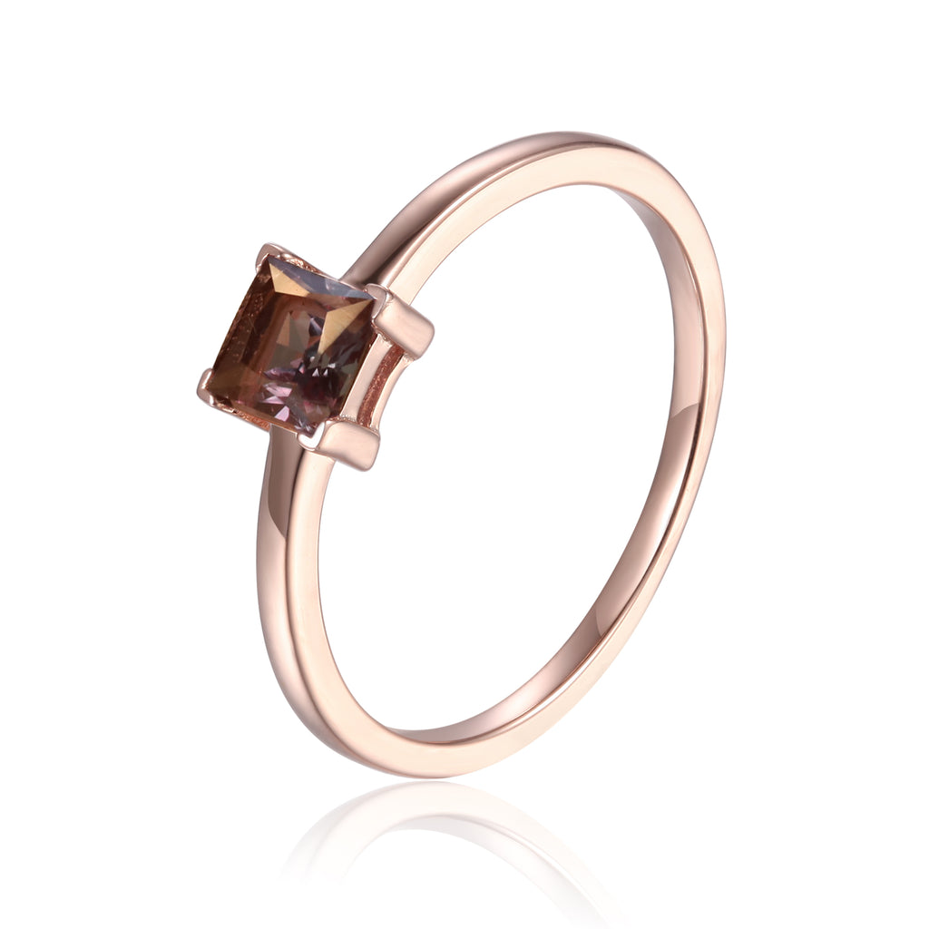 Created Alexandrite Solitaire Ring in Rose Gold Plated Sterling Silver
