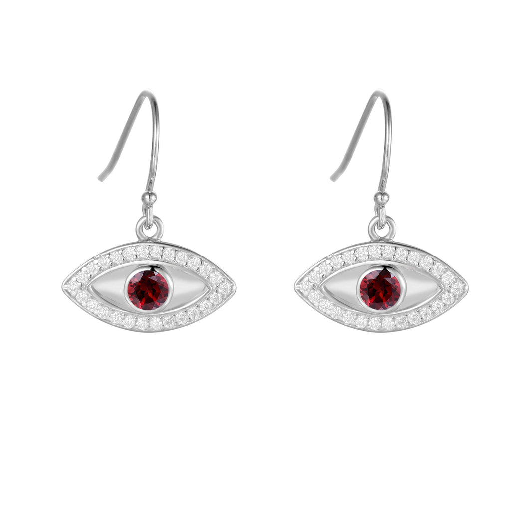 Natural Garnet Rhodium Plated Evil Eye Earrrings