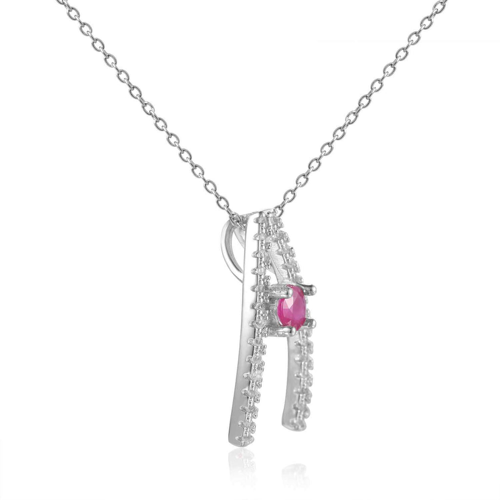 Enchanting Round cut Genuine Ruby Pendant Necklace with White Sapphire