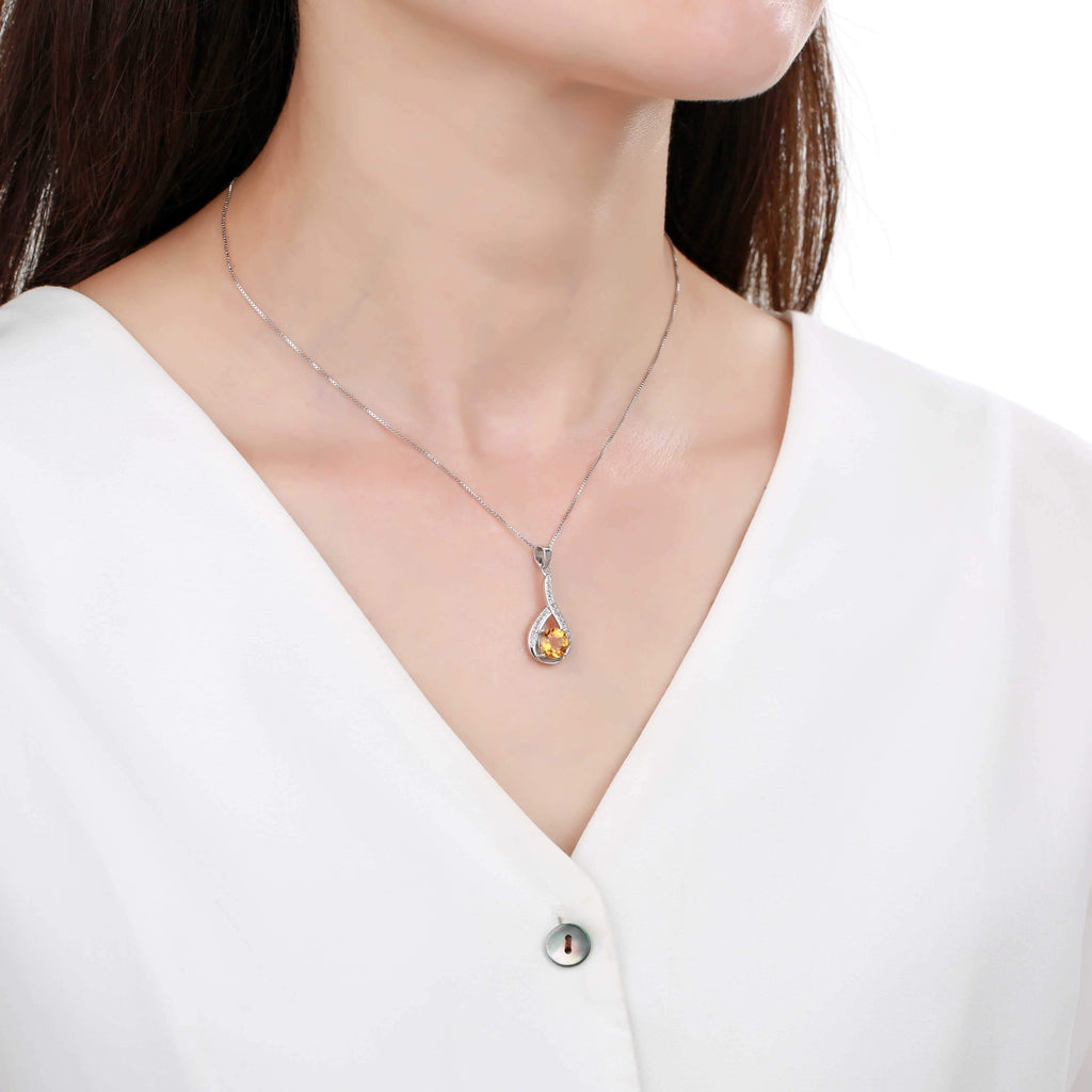Sophisticated Round cut Natural Citrine Pendant Necklace with White Sapphire