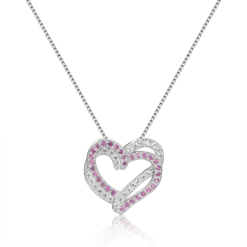 Captivating Round cut Genuine Pink Sapphire Heart Necklace Pendant with White Sapphire