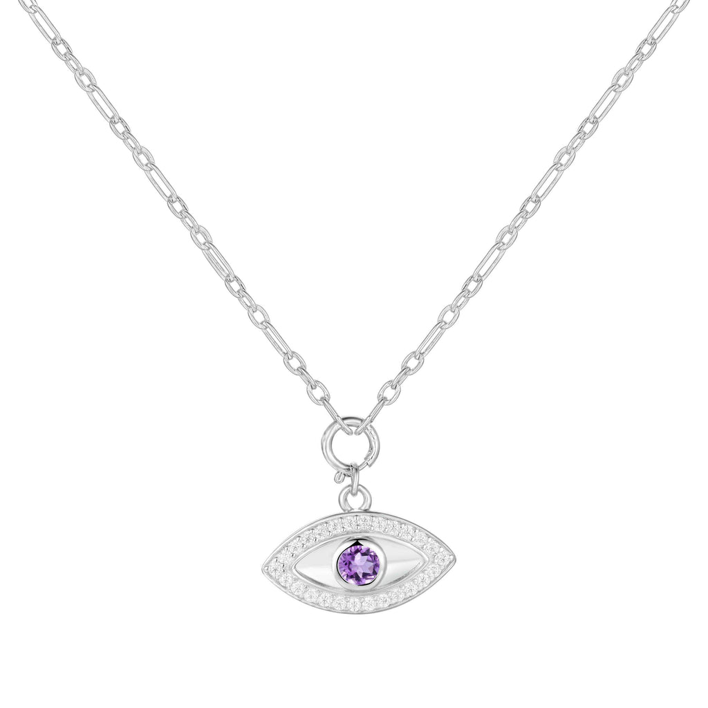 Natural Amethyst Rhodium Plated Evil Eye Necklace