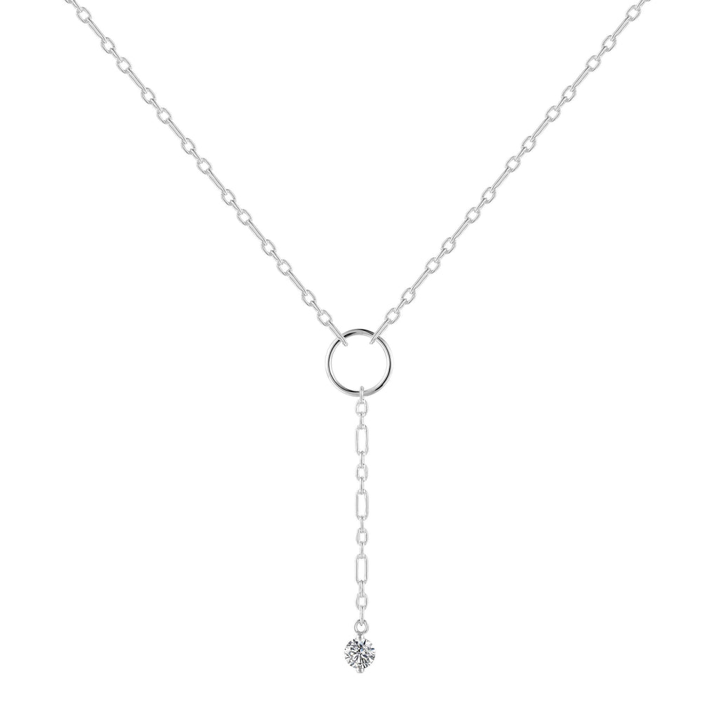 Natural White Topaz Dainty Round Rhodium Necklace