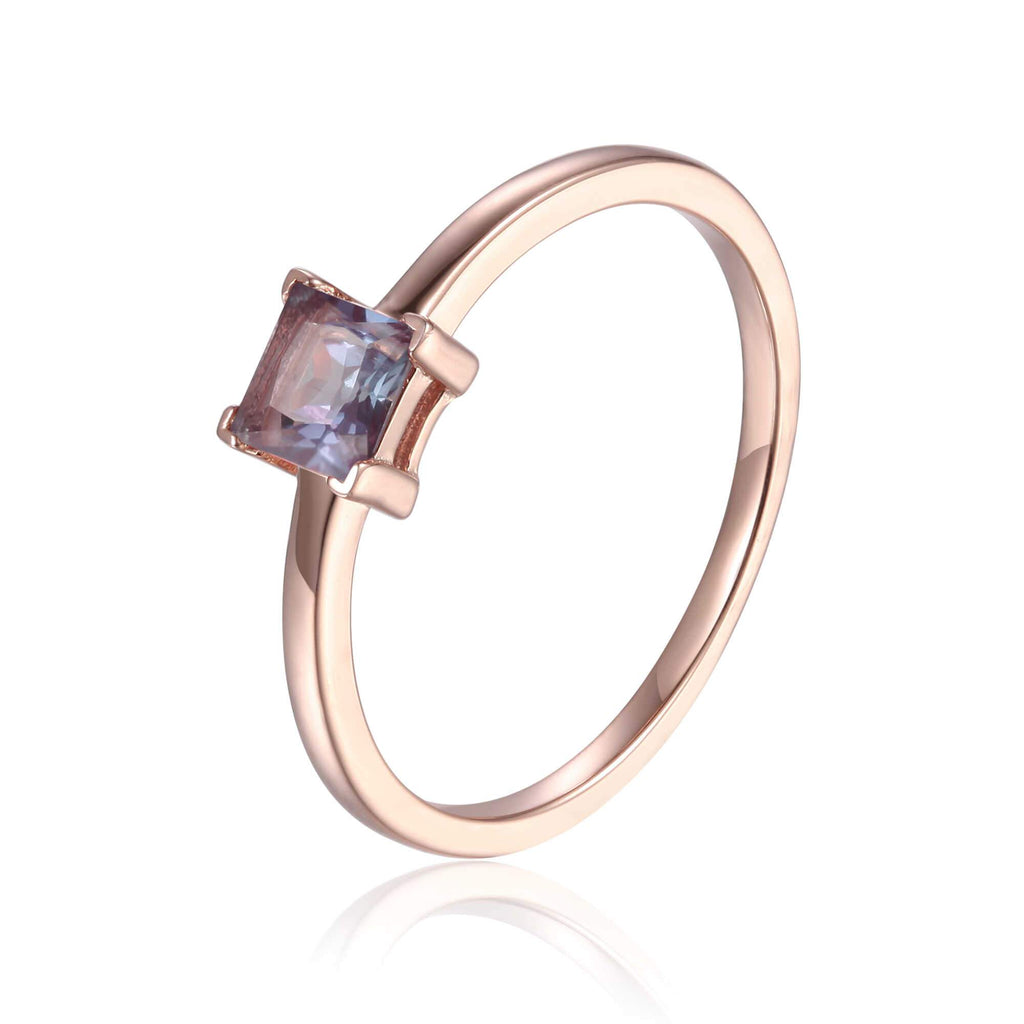 Rose Gold Plated Created Alexandrite Square Shaped Solitaire Ring