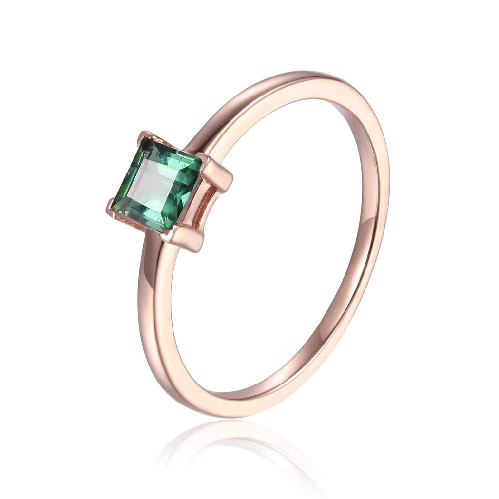 Rose Gold Plated Green Tourmaline Square Shaped Solitaire Ring