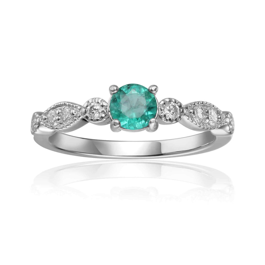 Rose Gold Plated Genuine Green Emerald Round cut Ring