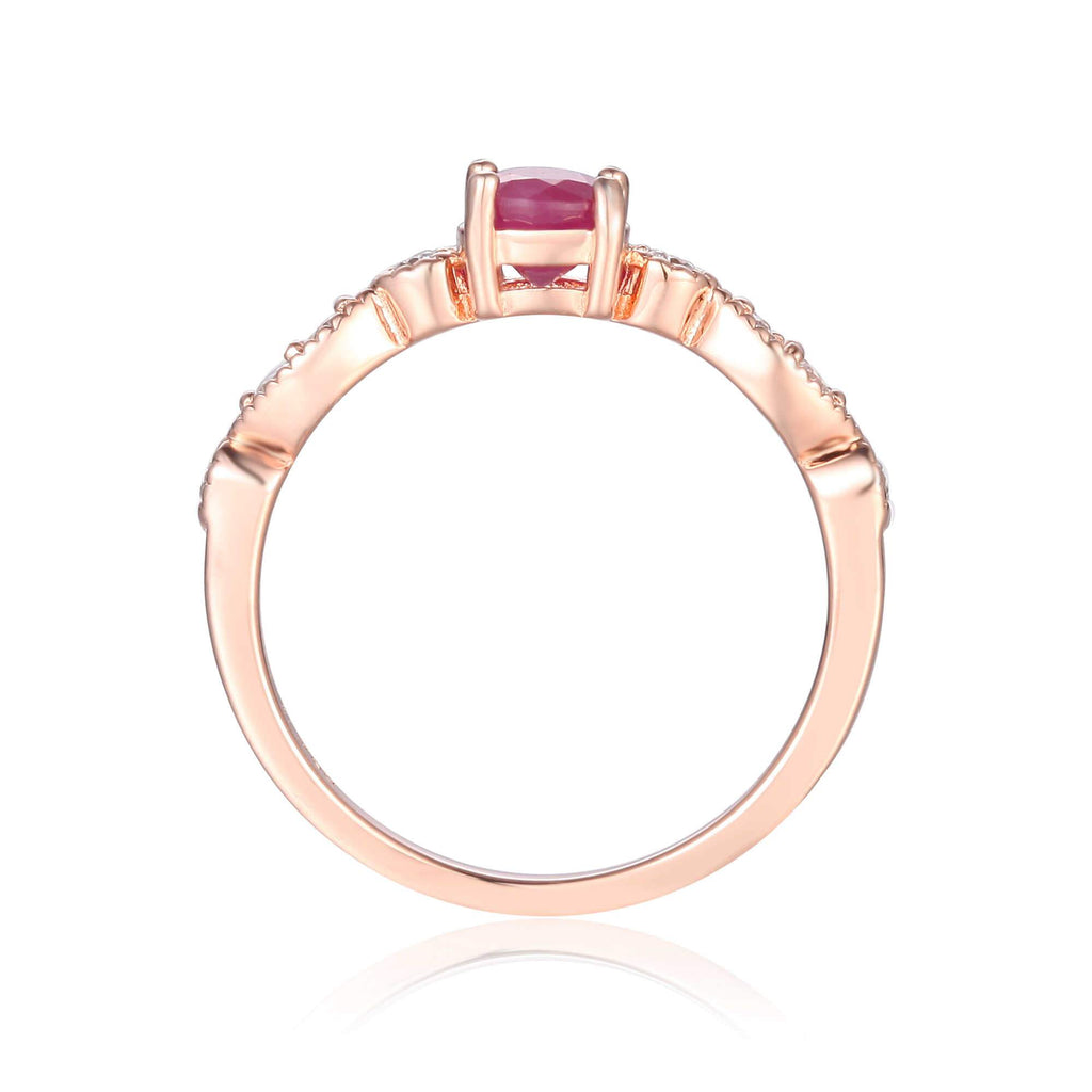 Rose Gold Plated Genuine Ruby Round cut Ring