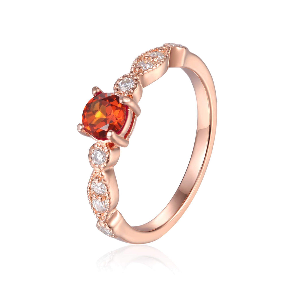 Rose Gold Plated Spessartite Garnet Round cut Ring
